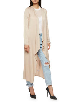 Long Sleeve Solid Duster - LATTE - 3414066493098