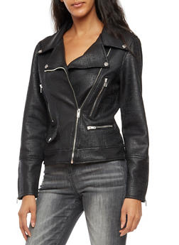 Faux Leather Moto Jacket - 3414068195541