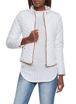 Quilted Jacket with Ribbed Panels - WHITE - 3414068197281