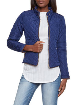 Quilted Jacket with Ribbed Panels - 3414068197281