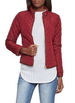 Quilted Jacket with Ribbed Panels - WINE - 3414068197281