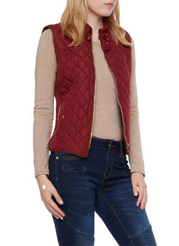 Quilted Vest with Ribbed Panels - 3414068197481