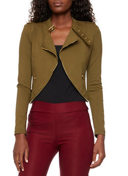 Asymmetrical Military Jacket with Zipper Detail - 3414068198129
