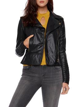 Faux Leather Moto Jacket with Knit Panels - 3414068198146