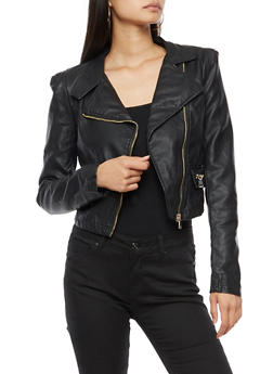 Faux Leather Moto Jacket - BLACK - 3414068198178