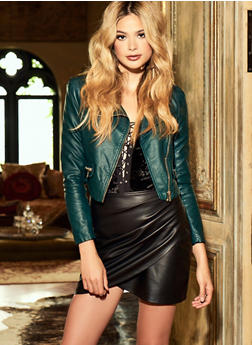 Faux Leather Moto Jacket - PINE - 3414068198178