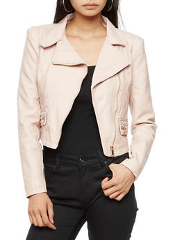 Faux Leather Moto Jacket - MAUVE - 3414068198178
