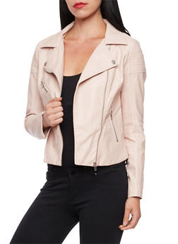 Faux Leather Jacket with Ribbed Paneling - MAUVE - 3414068198182