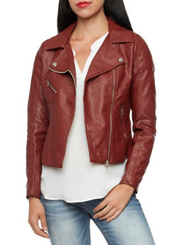 Faux Leather Jacket with Ribbed Paneling - 3414068198182