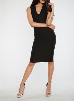 Soft Knit Bodycon Dress - BLACK - 3414068510415