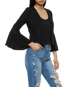 Crepe Knit Cropped Blazer with Bell Sleeves - 3414068513636