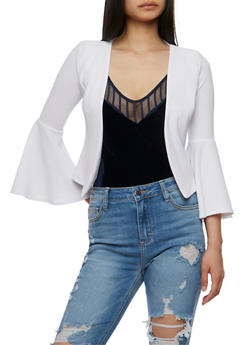 Crepe Knit Cropped Blazer with Bell Sleeves - WHITE - 3414068513636