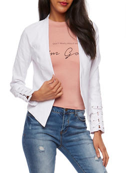 Open Front Blazer with Lace Up Sleeves - 3414068513642