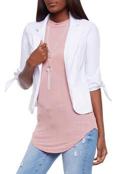 Tie Sleeve Open Front Blazer - 3414068514015