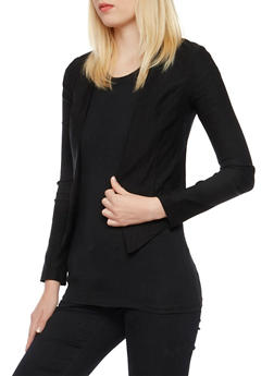 Open Front Blazer - BLACK - 3414068515851