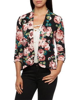 Floral Jacket with Ruched Sleeves - BLACK - 3414068517352