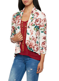 Floral Jacket with Ruched Sleeves - WHITE - 3414068517352