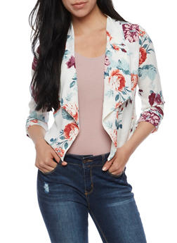 Open Front Floral Blazer with Ruched Sleeves - 3414069390035
