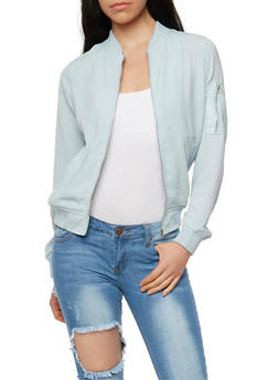 Washed Satin Zip Bomber Jacket - 3414069390104