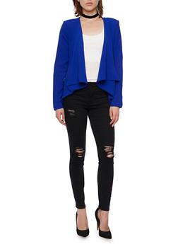 Asymmetrical Blazer with Zipper Pockets - 3414069392409