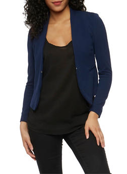 Solid Textured Knit Blazer - 3414069392472