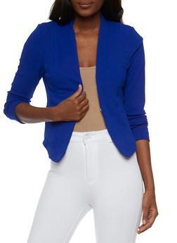 Solid Textured Knit Blazer - 3414069392472