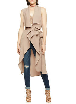 Belted Duster with Draped Open Front - 3414069392476