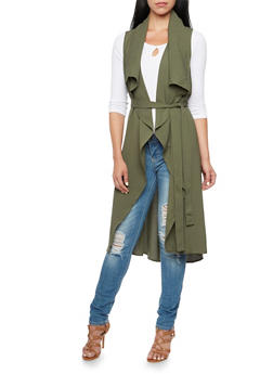 Belted Duster with Draped Open Front - OLIVE - 3414069392476