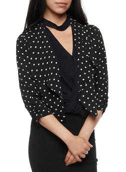 Polka Dot Open Front Blazer with Draped Lapel - 3414069392502