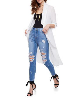 Long Sleeve Belted Duster - OFF WHITE - 3414069392506