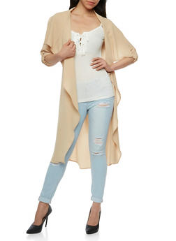 Long Sleeve Belted Duster - 3414069392506