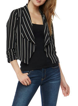 Striped Open Front Fly Away Jacket - 3414069395025