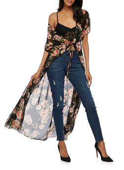 Floral Maxi Kimono with Tie Waist - BLACK - 3414072240324