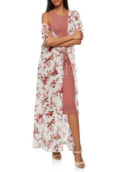 Floral Maxi Kimono with Tie Waist - IVORY - 3414072240324