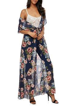 Floral Maxi Kimono with Tie Waist - 3414072240324