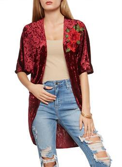 Velvet Rose Patch Kimono - 3414072246502
