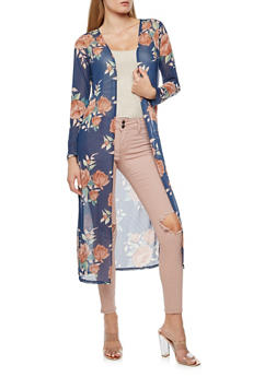 Floral Mesh Duster - NAVY - 3414072246523