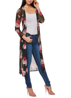 Floral Mesh Duster - WINE - 3414072246523