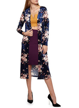 Floral Velvet Duster - NAVY - 3414072248523