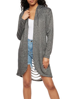 Long Sleeve Hooded Cardigan with Laser Cut Back - CHARCOAL - 3414072291717