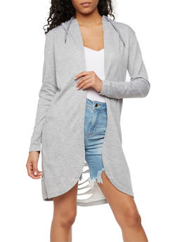 Long Sleeve Hooded Cardigan with Laser Cut Back - HEATHER - 3414072291717
