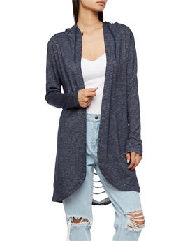 Long Sleeve Hooded Cardigan with Laser Cut Back - NAVY - 3414072291717