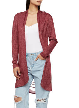 Long Sleeve Hooded Cardigan with Laser Cut Back - BURGUNDY - 3414072291717