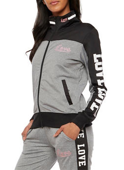 Love Graphic Active Zip Up Sweatshirt - 3414072291921