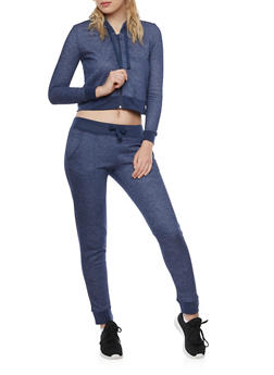 Cropped Hoodie with Zip Front - 3414073136120