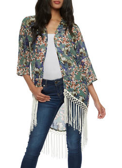 Light Weight Floral Kimono with Fringe Trim - 3414074161046