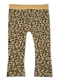 Toddler Girls Animal Print Leggings with Plush Lining - 3501061958768