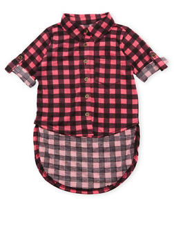 Toddler Girls Gingham Top with High Low Hem - FUCHSIA - 3503038340103