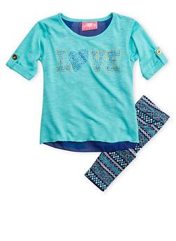 Toddler Girls Studded Top and Ikat Leggings Set - 3505048373144
