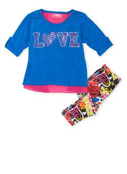 Toddler Girls Layered Top and Leggings Set - 3505048373145